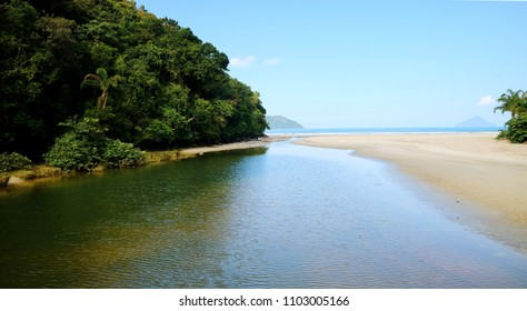 Juquehy beach, Sao Paulo Brazil. Beautiful beach and preserved Atlantic rain forest.