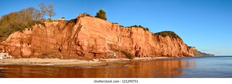 Jurassic Coast Pano - showing coastal erosion and rock falls