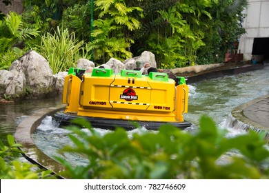 Jurassic Park Rapids Adventure Water ride and sports activity at the Singapore Universal Studios, Singapore, December 27, 2017
