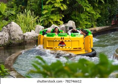 Jurassic Park Rapids Adventure Water ride and water sports activity at the Singapore Universal Studios Sentosa, Singapore, December 27, 2017