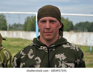 JURGA, SIBERIA, RUSSIA - JUNE 6,2011:Unknown soldier from the military intelligence unit in the ranks
