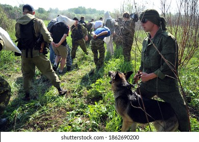 """JURGA, SIBERIA, RUSSIA - JUNE 7,2011:Hostages taken prisoner. Courses for war correspondents """"Bastion"""", rules of conduct in captivity."""