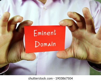 Juridical concept meaning Eminent Domain with sign on the sheet.