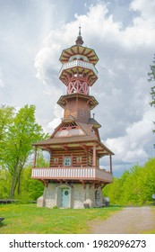 Jurkovic lookout tower in Czech Republic. Beautiful wooden lookout tower in historical style