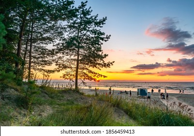 Jurmala, Latvia - 02 August, 2020: Coastal landscape at sunset in Jurmala - famous international tourist resort and lovely recreation place in Latvia, Europe