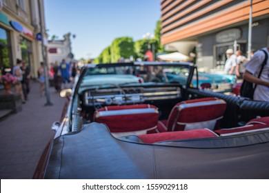 Jurmala, Latvia - 02.06.2018 Old cars at Jurmala streets. Retro car. Cabrio