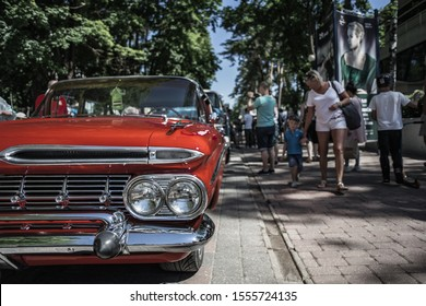 Jurmala, Latvia - 02.06.2018 - Oldschool car at the street show. A classic old American car. Retro car. Reto car show on street of the city. european and american old classic automobiles