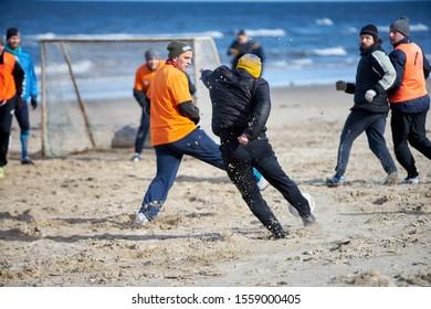 Jurmala, Latvia - 09.03.2019 Beach soccer in Jurmala