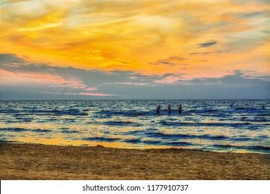 Jurmala, Latvia 2018-07-20. Vacation in Jurmala small city, evening by the sea watching the sunset, beautiful sky colors.