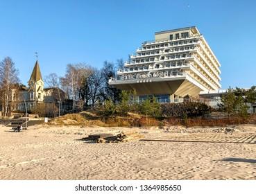 Jurmala, Latvia - April 3, 2019: Baltic Beach Hotel and SPA is a modern seaside resort, located on the Gulf of Riga in Jurmala Beach, Latvia