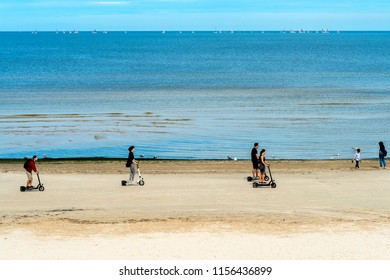 Jurmala, Latvia - August 14, 2018: Jurmala is a famous tourist resort in Latvia and Baltic region, EC, Europe. Halthy and sport life style and activity in Jurmala