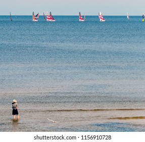 Jurmala, Latvia - August 14, 2018: Jurmala is a famous tourist resort in Latvia and Baltic region, EC, Europe. Photo shows halthy life style and activity in Jurmala