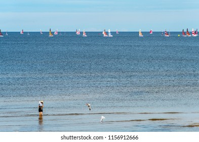 Jurmala, Latvia - August 14, 2018: Jurmala is a famous tourist resort in Latvia and Baltic region, EC, Europe. Photo shows halthy and sport life style and activity in Jurmala