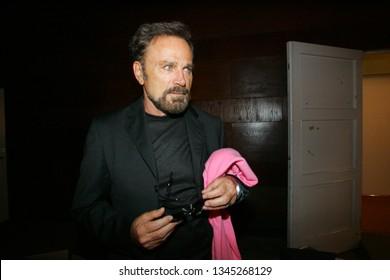 Jurmala, Latvia- August 29, 2006: Franco Nero - Italian actor with purple scarf in Jurmala, Latvia