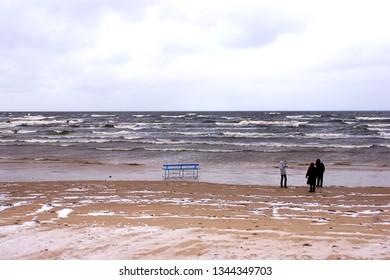 Jurmala, Latvia, January 05, 2015: The coast of Jurmala in Latvia in winter