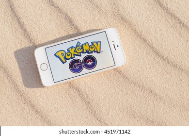 JURMALA, LATVIA - July 13, 2016: Pokemon Go logo on the smartphone. Pokemon Go is a location-based augmented reality mobile game.