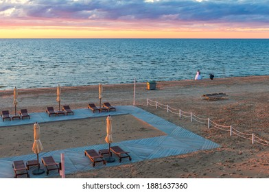 Jurmala, Latvia - July 19, 2017: Jurmala is a famous tourist resort in Latvia and Baltic region, EC, Europe. Photo shows healthy and active life style and recreation activity in sandy beach of Jurmala