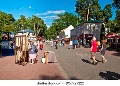 Jurmala, Latvia - July, 2017: Many tourists on the street in Jurmala city, Latvia