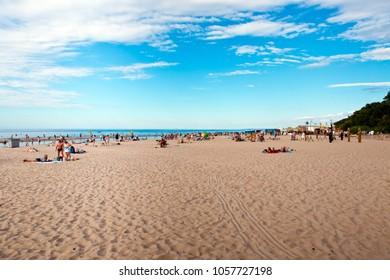 Jurmala, Latvia - July, 2017: Sunny day on the beach in Jurmala city, Latvia