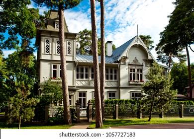 Jurmala, Latvia - July, 2017: Typical wooden latvian houses, traditional Jurmala architecture