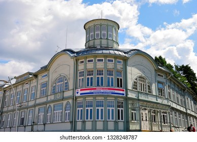 Jurmala, Latvia - July 25, 2018 - Former Swimming Establishment of Emilija Racene on the beach in Majori in Jurmala resort town near Riga