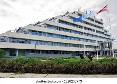 "Jurmala, Latvia - July 25, 2018 - National Rehabilitation Centre ""Vaivari"" in Varvari neighbourhood of Jurmala resort town near Riga"