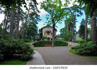 Jurmala, Latvia - July 25, 2018 - Art Nouveau style manor in Jurmala resort town near Riga