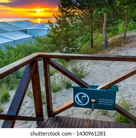 Jurmala, Latvia - June 20, 2019: Resting point after swimming in the Baltic Sea and hiking along sandy beach