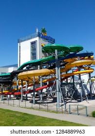 Jurmala, Latvia, June 28,2017. Livu Akvaparks (Livu Aquapark). Covered multi-functional water park. Open summer park under the sky. People enjoy summer holidays. Copy space, place for text.
