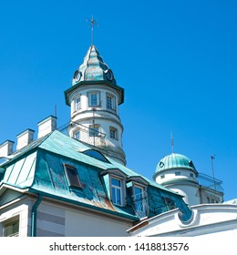 Jurmala / Latvia - June 4, 2019: Roof of hotel Majori at the Baltic sea resort Majori, Jurmala, Latvia. (1x1)