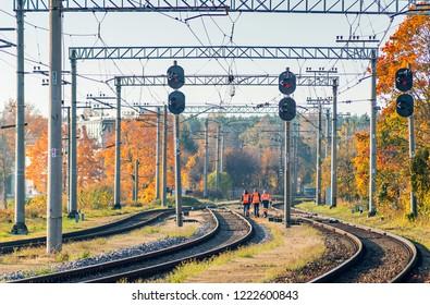 Jurmala, Latvia - October 16, 2018: Metal railroad in Dubulti, Jurmala, Latvia, Europe. Dubulti is administrative center of Jurmala - famous international Baltic resort in Latvia