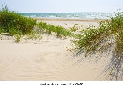 Jurmala (Latvia). Sandy dunes on a beach of Jurmala.