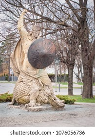 "JURMALA, LATVIA-APRIL 18, 2018: Sculpture Bear-slayer (Latvian: ""Lacplesis"") by L. Kristovskis"