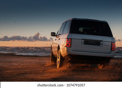 Jurmala, LV - AUG 28, 2017: Range Rover Supercharged on the beach