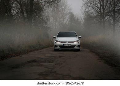 Jurmala, LV - SEP 24, 2017: Volkswagen Golf GTI in the old abandoned road