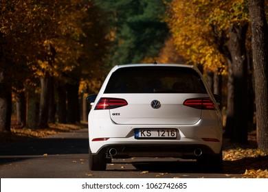 Jurmala, LV - SEP 24, 2017: New Volkswagen Golf GTI on alley of Jurmala