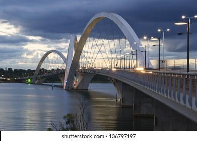 Juscelino Kubitschek Bridge in Brasilia, Brazil at sunset