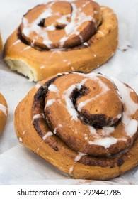 Just baked cinnamon and raisin rolls.