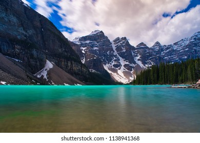 Just beautiful blue water. Lake Moraine in all her glory. The big snowy mountains in the background