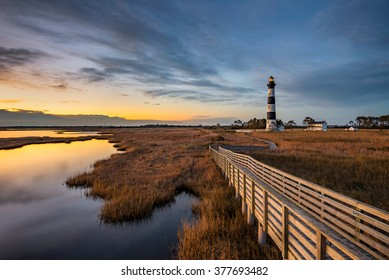 Just before dawn at Bodie Island lighthouse along North Carolina's Outer Banks