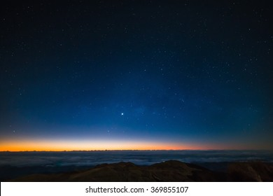 Just before dawn on top of Mount Pulag in the Philippines
