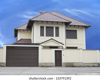 Just builded luxury house over blue sky background concept