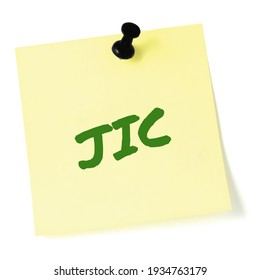 Just in case JIC green marker written text isolated yellow style post-it to-do list sticky note sticker black pushpin thumbtack macro closeup bulletin info concept metaphor reminder memo close-up