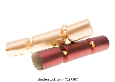just Christmas crackers isolated on white background