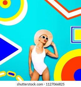 Just feel this summer. Colorful Beach Girl and geometry minimal vibes. Fashion vacation art