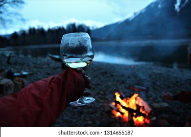 Just a glass of wine by the river at sunset, after a kayak ride, in northern BC, Canada.