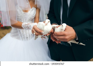 Just married Bride and groom hold white doves. Wedding