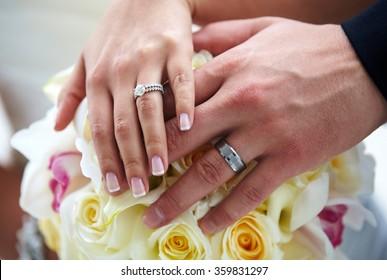 Just Married. Bride and Groom Wedding Rings