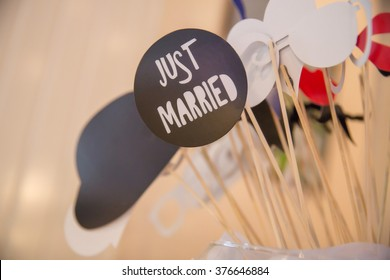 just married cardboard sign