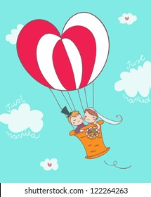 just married cartoon couple on montgolfier